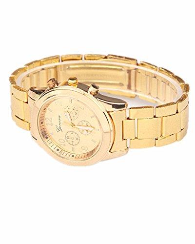 SAMGU Orologio unisex dell'acciaio inossidabile della manopola del cristallo di quarzo Orologio da polso orologi di lusso orologi colore oro