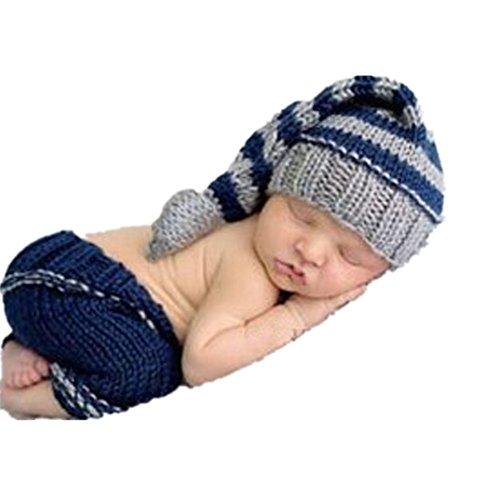 Handgefertigt Infant Newborn Baby Mädchen Boy Crochet Knit Mütze Hose Fotografie Requisiten OUTFITS (Lucky Girl Kostüm)