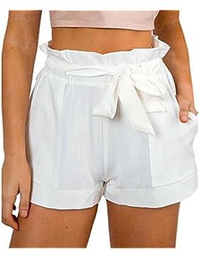 Donne Estivo Tinta Unita Pantaloni a Vita Alta Casual Shorts con Bende Hot Pants