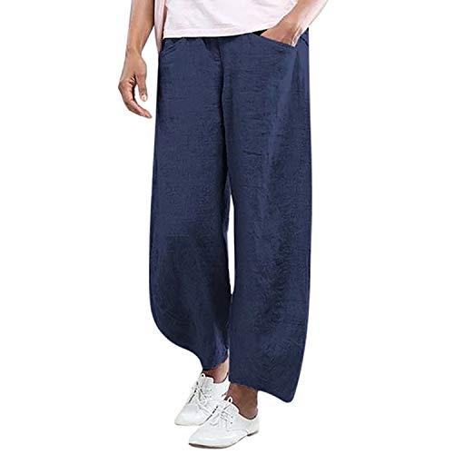 New Women Fashion Solid Color Cotton Flax Elastic Long Pants Beach Leisure Trousers Blue M Old Navy Capri-jeans