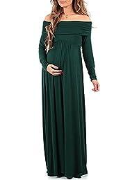 635420f75 BEDAMAM Premamá Vestido de Manga Larga Maxi Falda Plisada con Encaje Flores  para Mujer Casual Maternidad