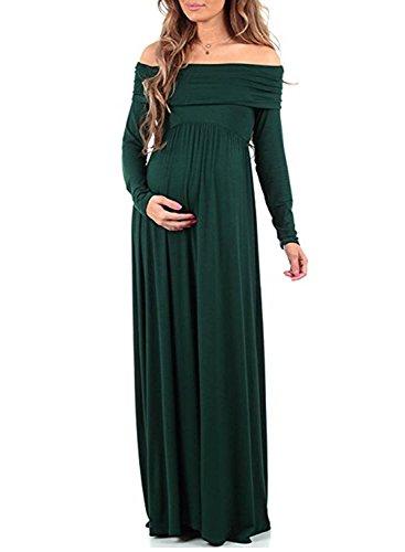 BEDAMAM Premamá Vestido de Manga Larga Maxi Falda Plisada con Encaje Flores para Mujer Casual Maternidad Vestido Fotografía Sexy Vestido de Embarazo Verde L