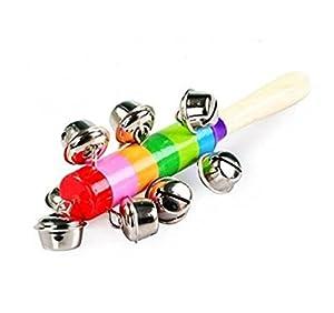 Modish Baby Kid Rainbow Pram Crib Handle Wooden Bell Stick Shaker Rattle Toy