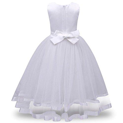 ❤️Kobay Blume Mädchen Prinzessin Brautjungfer Festzug Tutu Tüll-Kleid Party Hochzeit Kleid (Weiß, 120 / 4 Jahr)