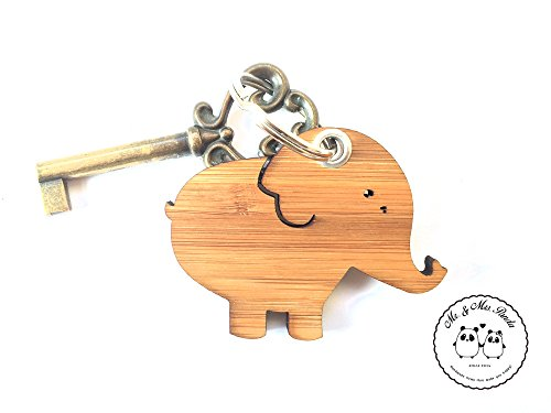 Preisvergleich Produktbild Mr. & Mrs. Panda Schlüsselanhänger Elefant - 100% handmade in Norddeutschland - Glücksbringer, Elefant, Schlüsselbund, Big Five, Schlüsselanhänger, Savanne, Geschenk, Bambus, Afrika, Dickhäuter, Holz, Anhänger