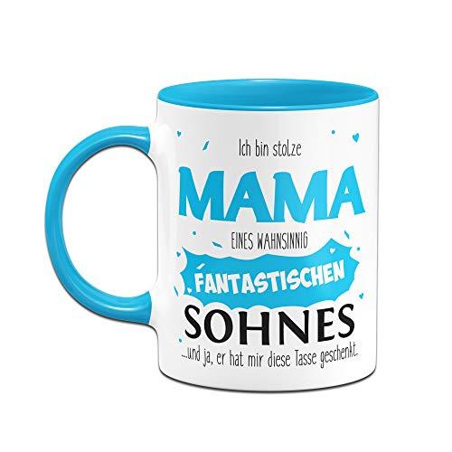 Tassenbrennerei Tasse mit Spruch Stolze Mama Sohn, Geburtstagsgeschenk, Geschenk für Mama zum Muttertag - Tassen mit Sprüchen lustig (Blau) - 2