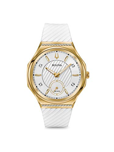 Ladies' Bulova Curv Yellow Gold-Tone White Rubber Strap Watch 98R237