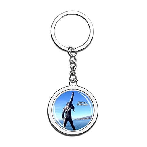 nd Freddie Mercury Memorial Montreux Schlüsselbund 3D Kristall Drehen Rostfreier Stahl Schlüsselbund Touristische Stadt Andenken Schlüsselanhänger ()