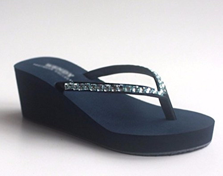 SCLOTHS Chanclas para Mujer Tacón Alto Antideslizante Flip Flops Pendiente Playa Diamante Artificial Blue 6 US...