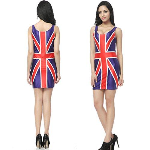 Elastic tHENICE sexy imprimés robes robe pour femme - UK flag