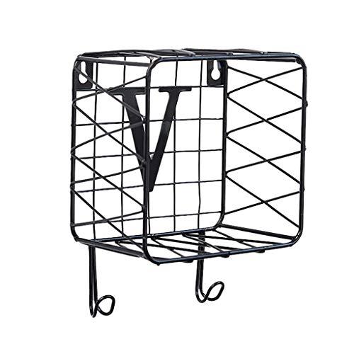 SIRIGOGO Startseite Wandhaken,Wandhalterung Schlüssel Brief Veranstalter Handtasche Lagerregal Reinigungstuch Halter Kleiderbügel, Wandkunst (Schwarz F)