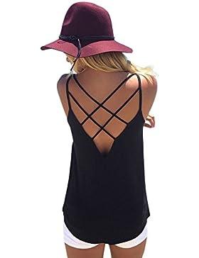Weant Canotta Donna T-Shirt Canottiere Canotta Felpe Donna Tank Top Tunica Cinghie Incrociate Canotta Casual Vest...