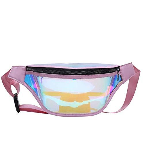 WHHYY Gürteltasche, Transparente EIN-Schulter-schräge Tasche Dame Mode Sport Freizeit Kleinen Rucksack Hüfttasche Brusttasche - Klar, Schulter Riemen