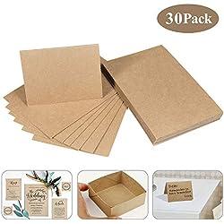 Papel de estraza cartón de kraft, MOOKLIN 30 hojas de cartulina 15 x 9.8cm Natural cartón en alta calidad para manualidades y selbstgestalten