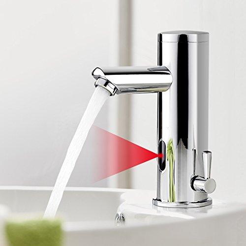 BONADE Infrarot IR Wasserhahn Automatische Waschbeckenarmatur Spüle Sensor Bad Armatur Automatik Kalt + Warmwasser Mischbatterie Einhandmischer für Badezimmer Ir Infrarot-sensor