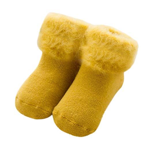 Wawer Baumwolle Socken für 0-6 Jahre Baby, Unisex Kinder Winter Socken Plüsch Socken Anti-Rutsch Socken Slipper Schuhe Stiefel Neugeborene Babysocken (5-6 Jahre/L, Gelb) - Gelb Baby Booties