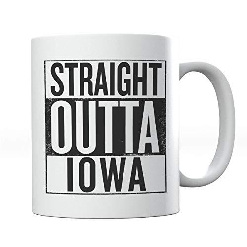 Black Text Straight Outta Iowa US States Mug -