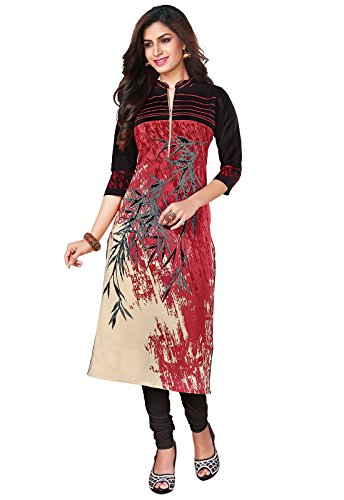 Ishin Cambric Cotton Red Printed Party Wear Wedding Wear Casual Daily Wear Office Wear Festive Wear Bollywood New Collection Latest Design Trendy Women\'s Unstitched Kurti/Kurta Fabric (Only Top Fabri