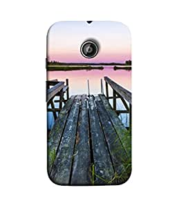 PrintVisa Designer Back Case Cover for Motorola Moto E :: Motorola Moto E XT1021 :: Motorola Moto E Dual SIM :: Motorola Moto E Dual SIM XT1022 :: Motorola Moto E Dual TV XT1025 ( Beauty Blue Morning Forest Grass Beautiful Lake)