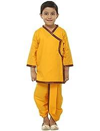 FOCIL Yellow & Maroon Kurta & Dhoti Pant Set For Kids