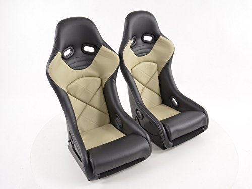 FK-Automotive FK Sportsitze Auto Vollschalensitze Set Rennsitze mit Rückenschale aus Fiberglas