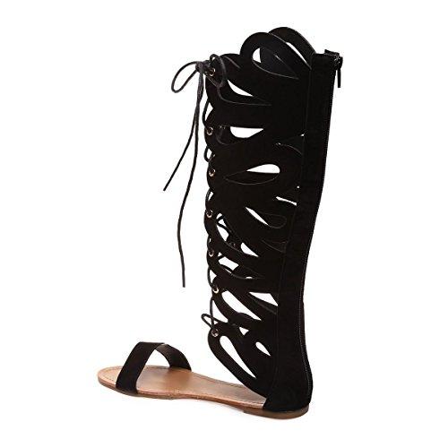 La Modeuse - Sandales montantes style spartiate ensuédine Noir