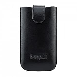 bugatti Echtledertasche für z.B. Sony Xperia Z3 Compact oder Samsung Galaxy S4 uvm. - schwarz [Größe: XL   Handarbeit   Einfache Entnahme   Gürtelschlaufe   Magnetverschluss] - 07883