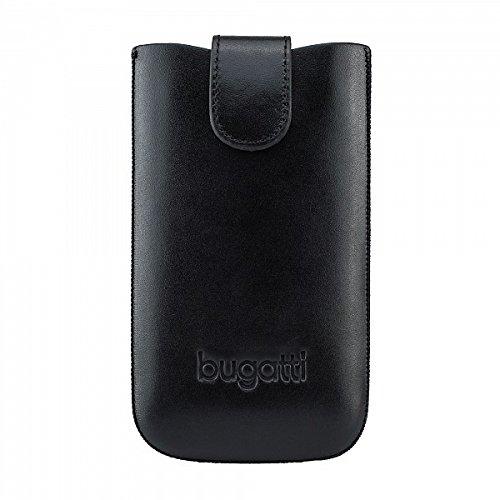 bugatti Echtledertasche für z.B. Apple iPhone 4/4S, Samsung Galaxy SIII mini, uvm. - schwarz [Größe: M | Handarbeit | Einfache Entnahme | Gürtelschlaufe | Klettverschluss]
