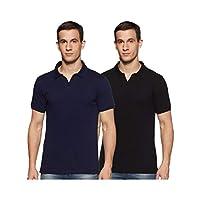 Amazon Brand - Symbol Men's Solid Regular fit Polo (Pack of 2) (JC-PO2_Peacoat Blue & Jet Black L)