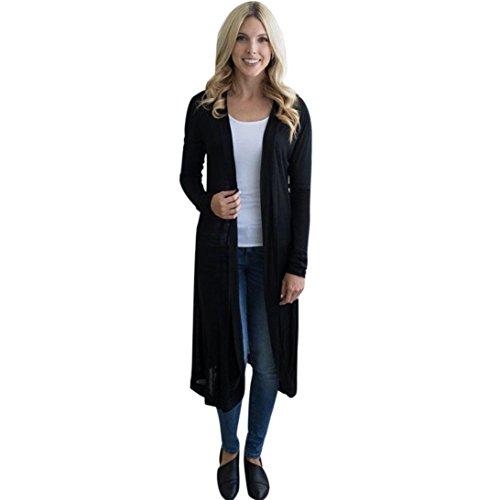 DOLDOA Frauen Langarm Maxi Strickjacke Open Floaty Jacke Mantel Outwear Bluse (EU: 44, Schwarz)