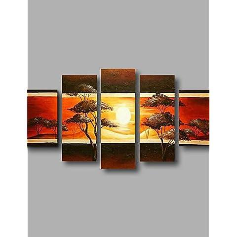 OFLADYH ® pronta per essere appesa pittura ad olio su tela alberi della foresta si estendeva incorniciate dipinte a mano di arte della parete sole