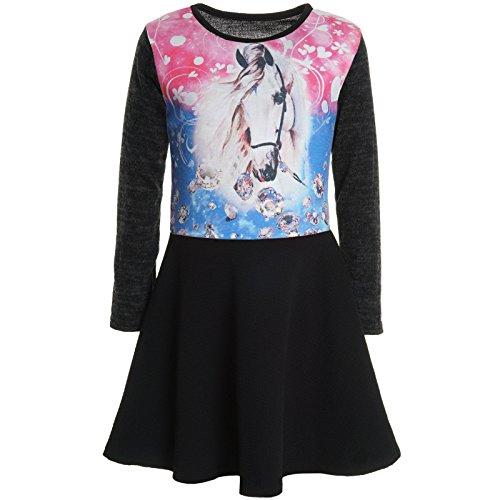 Kinder Mädchen Frankreich Kostüm - BEZLIT Mädchen Kinder Spitze Winter Kleid Peticoat Fest Kleider Lang Arm Kostüm 20922 Schwarz Größe 128