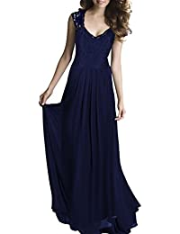 HanLuckyStars Vestido Largo Elegante de Gasa Encaje V-cuello sin Mangas para Mujer (Negro,Azul)
