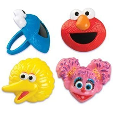 Sesame Street Cake Cupcake Ring Toppers Decoration Favors - 24 ct by Bakery Supplies - Sesame Street Topper