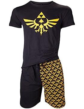NINTENDO Legend of Zelda Shortama ropa de dormir Set (Pequeño, Negro / Oro)