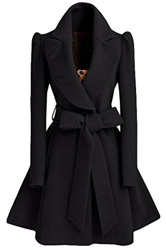 a31a4534cd82 Damen Mantel Trenchcoat Revers Warm Windbreaker Parka Jacke mit Gürtel