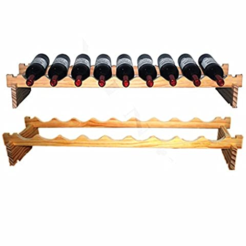 YINO Sturdy Wooden Wine Rack Stackable Display Shelves 3-108 Bottles