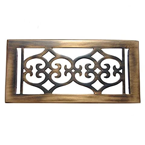 Adonai Hardware Flower Brass Wall Register with Louver - 4