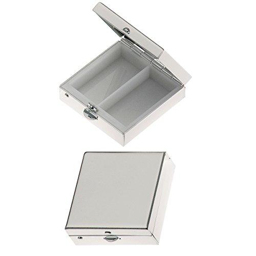 Pillendose 2 Geteilt quadratisch glatt 3,8x3,8x1,5 cm Silber Plated Versilbert