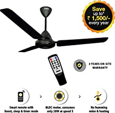 Gorilla Energy Saving 5 star rated 1200 mm Ceiling Fan with remote control and BLDC Motor - Matte Black