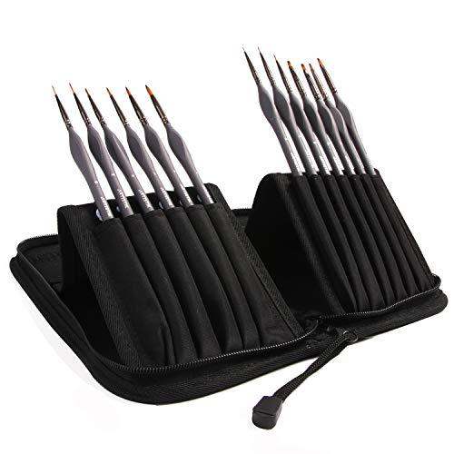 Miniature Painting Kit - (Set of 13) Micro Detail Paint Brushes with Black Carrying Case for Painting Action Figures, Models, Nail Art, Fantasy Nails, Acrylic, Oil, Detail Art, Stained Glass and More Black Micro Case
