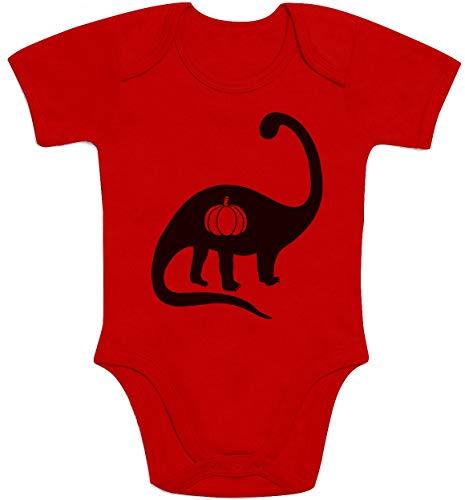 Shirtgeil Halloween Baby Kostüm Body mit Dino & Kürbis Orange Baby Body Kurzarm-Body 62/68 (3-6M) Rot (Dino Baby Kostüm)