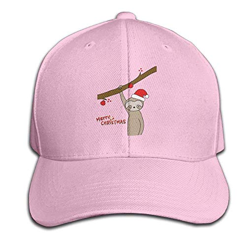 akingstore Fröhliche Slothmas lustige Santa Sloth Hysteresen-Sandwichkappe Rosa Baseballkappe Hüte Einstellbare emporgerastete Trucker Cap