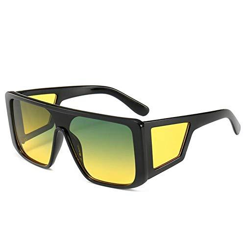 Vintage Square Sonnenbrillen, Schild Stil Sonnenbrillen Frauen Männer Cool Side Lens Sonnenbrille Großen Rahmen Strand Wesentlich (Farbe : 6, größe : 141mm)