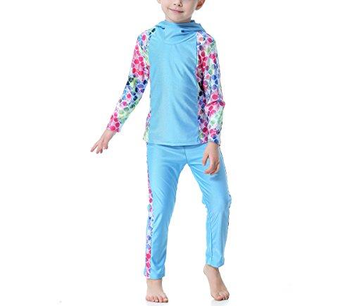 Swallowuk Mädchen Kinder Muslim Muslimische Islamische Lange Ärmel Badeanzug Schwimmanzug Burkini Bademode Badebekleidung Schwimmbekleidung Hijab Abaya Dubai Arabisch Türkisch Kleidung (160cm, Blau)