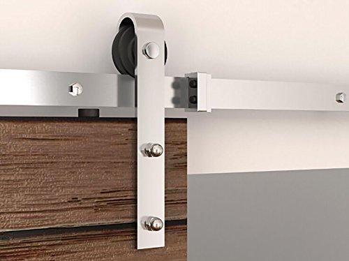 hahaemall 5,5ft/Gartenbank Home Möbel einzelne Edelstahl mit Holz Scheunentor Roller Hardware schwarz Track Rolling Closet Kit