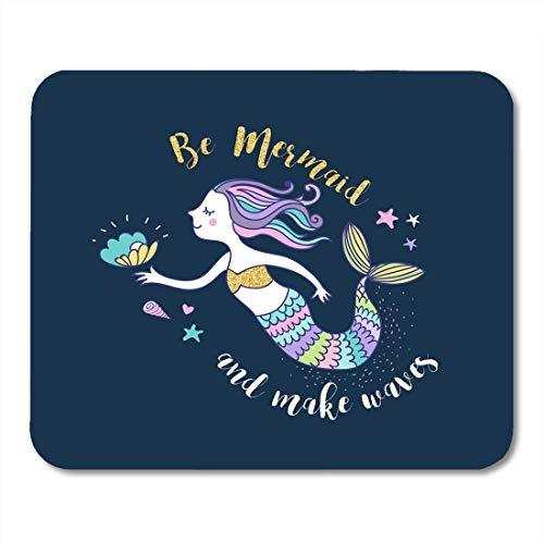 Mauspad Cartoon-Motiv, Motiv: Kleine Meerjungfrau, Fische, Tiere und Seestern, Delfin, Fantasie, Blau