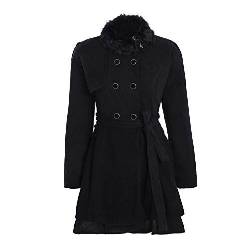 URSING Damen Winter Jacke Elegant Slim Fit Winterparka Dicker Parka Mantel Lange Winter Outwear Wintermantel Warm Gefüttert Revers Lange...