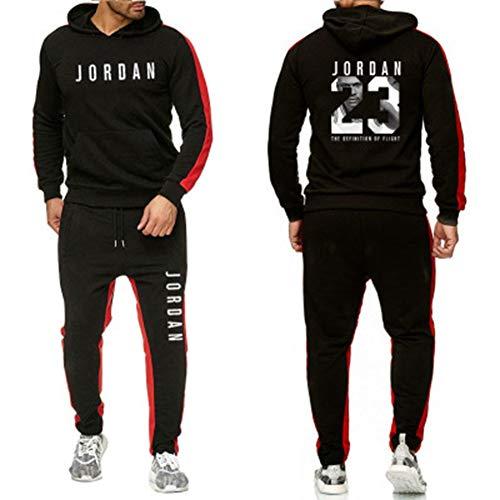 YDYL-LI Basketball Sportswear - Anzug Michael Jordan # 23 Männer Casual Sport Pullover - Herbst Und Winter Mode-Set, Schwarz,M