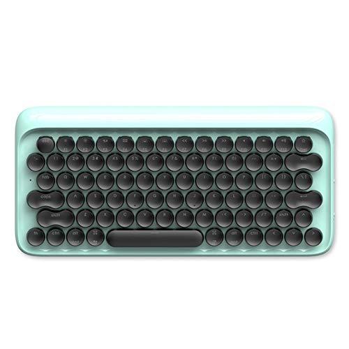 Von Hinten Beleuchtete Tastatur Der Retro- Mechanischen Tastaturpunkt Bluetooth-Plan-Kompakten Alten Schreibmaschine Runde Schlüsselkappen-Grünachse 3 Farben Der Drahtlosen Tastatur,Blue